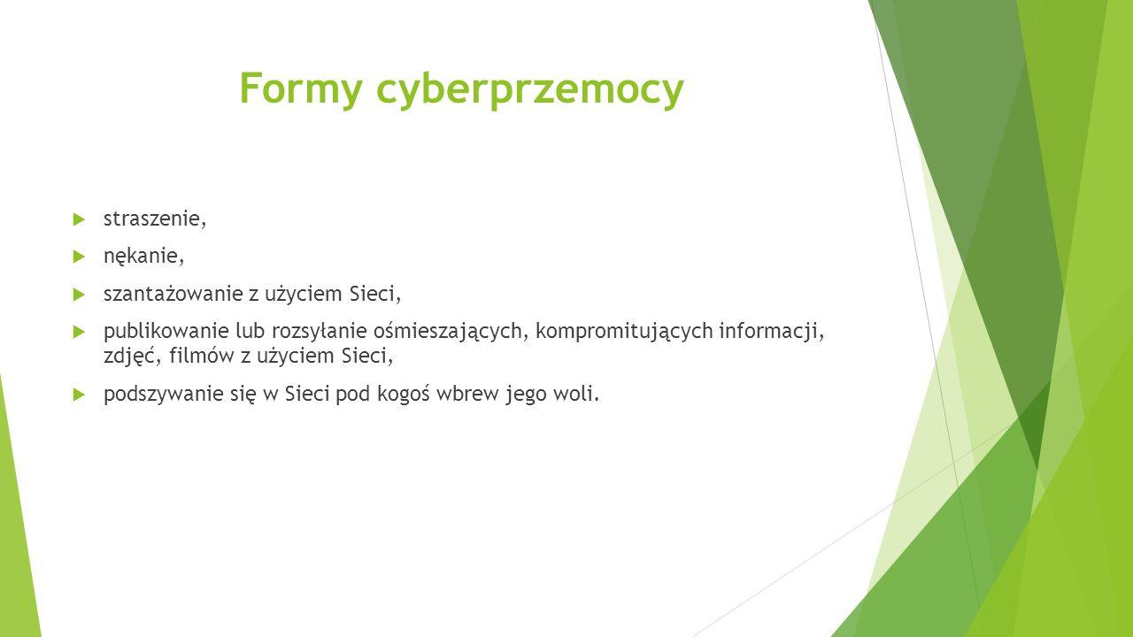 Formy cyberprzemocy straszenie, nękanie, szantażowanie z użyciem Sieci, publikowanie lub rozsyłanie ośmieszających, kompromitujących informacji, zdjęć