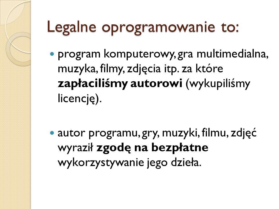 Legalne oprogramowanie to: program komputerowy, gra multimedialna, muzyka, filmy, zdjęcia itp. za które zapłaciliśmy autorowi (wykupiliśmy licencję).