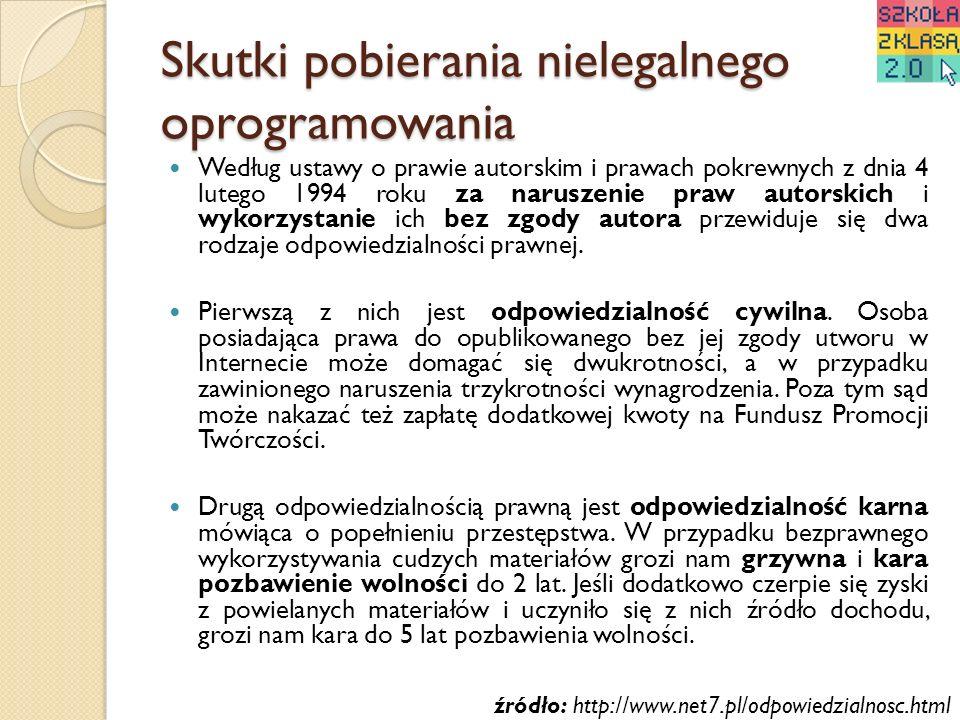Skutki pobierania nielegalnego oprogramowania Według ustawy o prawie autorskim i prawach pokrewnych z dnia 4 lutego 1994 roku za naruszenie praw autor