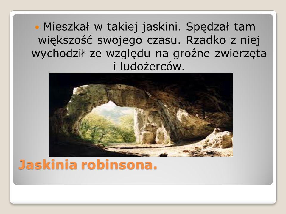Jaskinia robinsona. Mieszkał w takiej jaskini. Spędzał tam większość swojego czasu. Rzadko z niej wychodził ze względu na groźne zwierzęta i ludożercó