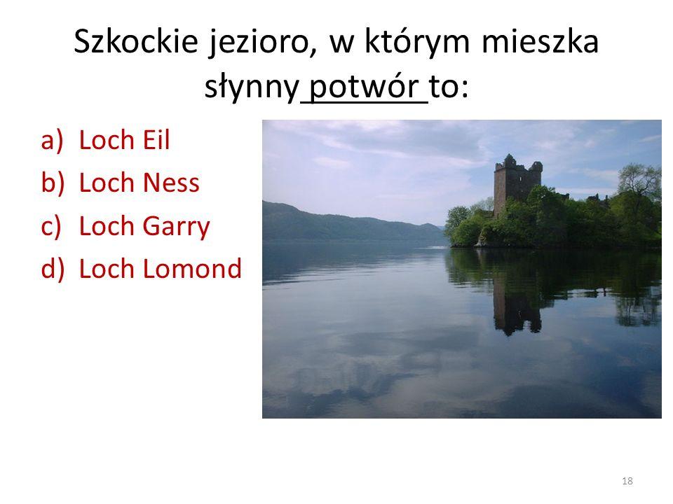 Szkockie jezioro, w którym mieszka słynny potwór to: a)Loch Eil b)Loch Ness c)Loch Garry d)Loch Lomond 18