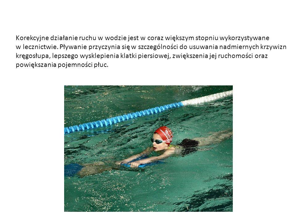 Korekcyjne działanie ruchu w wodzie jest w coraz większym stopniu wykorzystywane w lecznictwie. Pływanie przyczynia się w szczególności do usuwania na