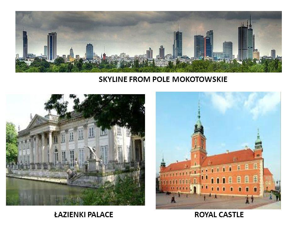 ROYAL CASTLEŁAZIENKI PALACE SKYLINE FROM POLE MOKOTOWSKIE