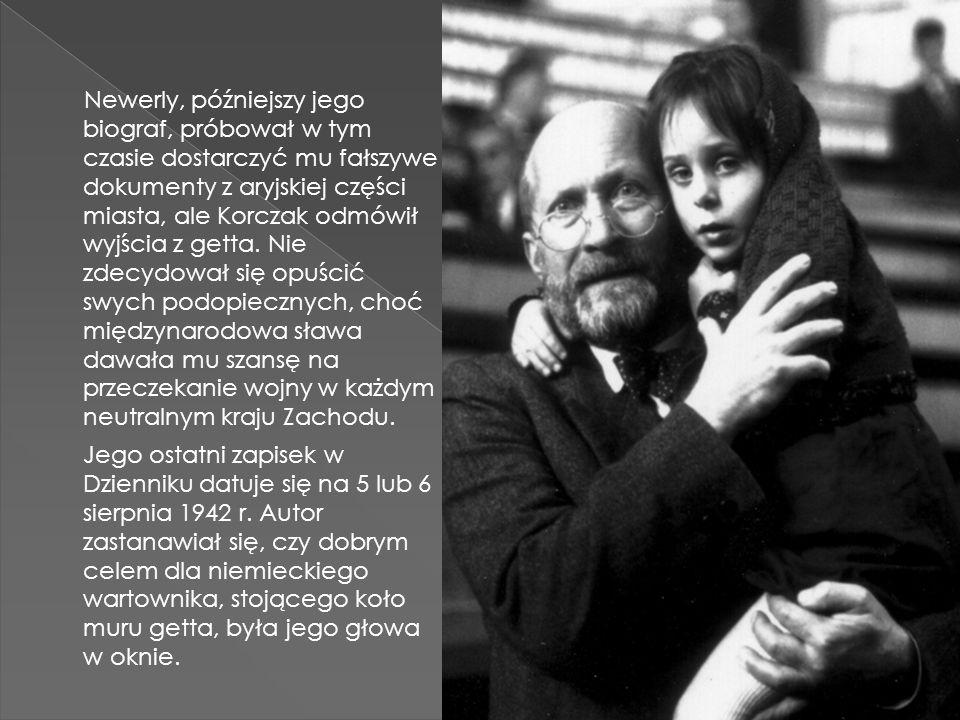 Newerly, późniejszy jego biograf, próbował w tym czasie dostarczyć mu fałszywe dokumenty z aryjskiej części miasta, ale Korczak odmówił wyjścia z gett