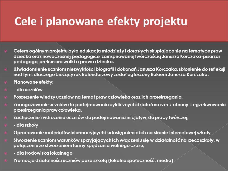 Cele i planowane efekty projektu Celem ogólnym projektu była edukacja młodzieży i dorosłych skupiająca się na tematyce praw dziecka oraz nowoczesnej p