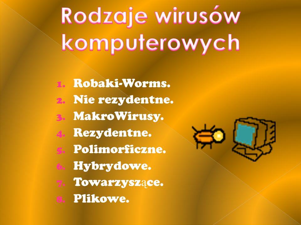 1. Robaki-Worms. 2. Nie rezydentne. 3. MakroWirusy. 4. Rezydentne. 5. Polimorficzne. 6. Hybrydowe. 7. Towarzysz ą ce. 8. Plikowe.
