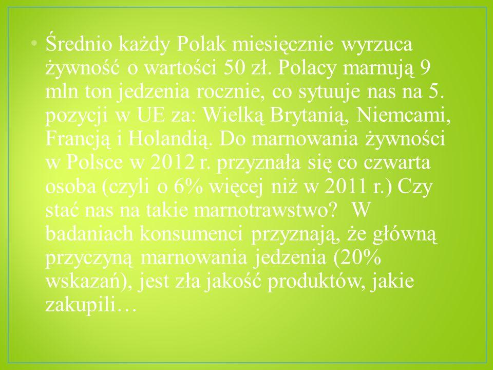 Średnio każdy Polak miesięcznie wyrzuca żywność o wartości 50 zł. Polacy marnują 9 mln ton jedzenia rocznie, co sytuuje nas na 5. pozycji w UE za: Wie