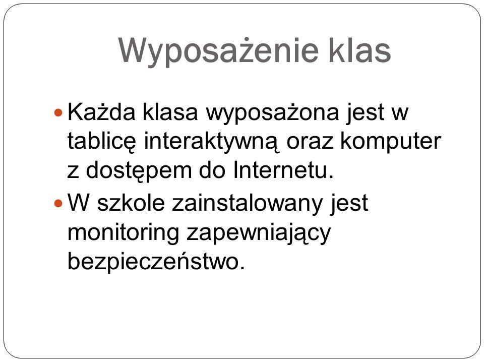 Wyposażenie klas Każda klasa wyposażona jest w tablicę interaktywną oraz komputer z dostępem do Internetu.