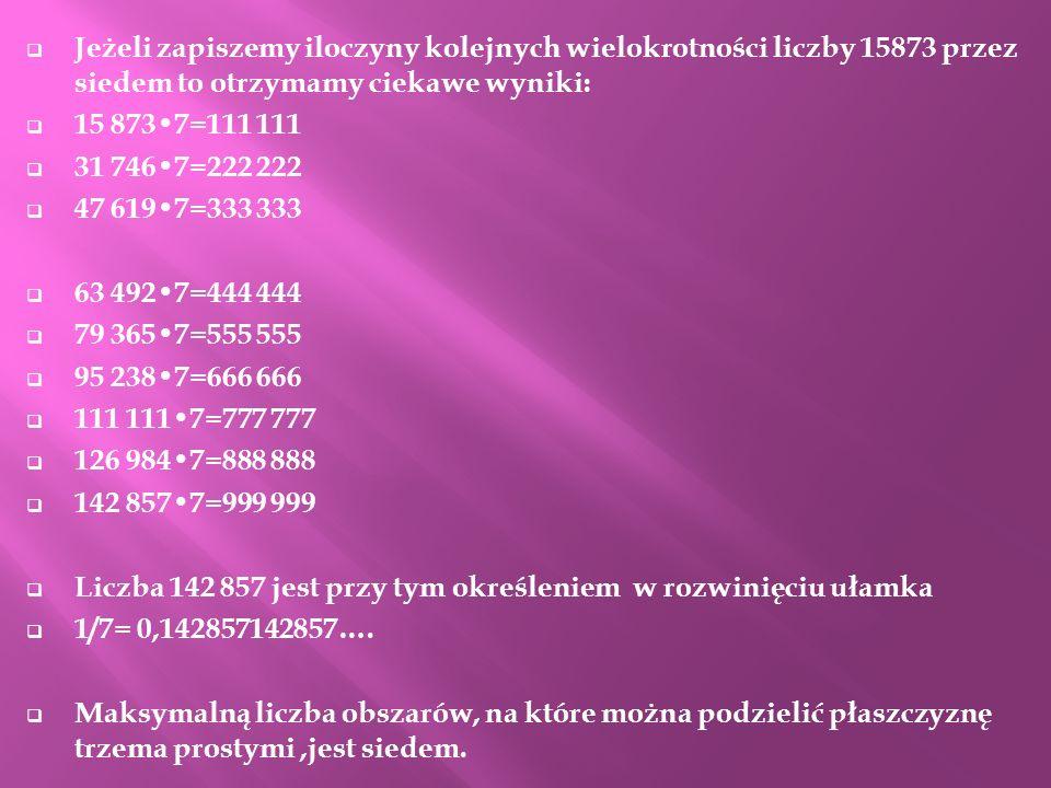 Jeżeli zapiszemy iloczyny kolejnych wielokrotności liczby 15873 przez siedem to otrzymamy ciekawe wyniki: 15 8737=111 111 31 7467=222 222 47 6197=333
