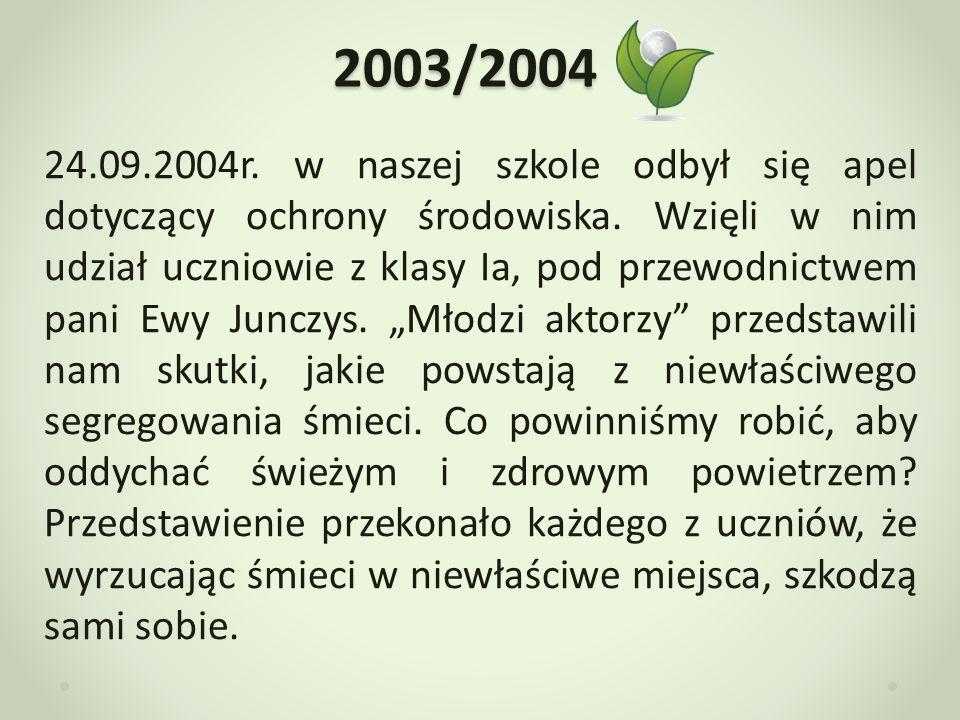 2004/2005 W roku szkolnym 2004/2005 w naszej szkole odbył się apel z okazji Dnia Ziemi.