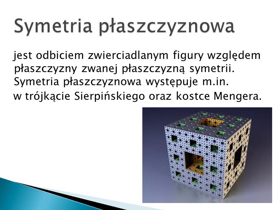 jest odbiciem zwierciadlanym figury względem płaszczyzny zwanej płaszczyzną symetrii. Symetria płaszczyznowa występuje m.in. w trójkącie Sierpińskiego
