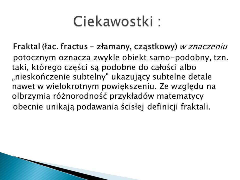 Fraktal (łac. fractus – złamany, cząstkowy) w znaczeniu potocznym oznacza zwykle obiekt samo-podobny, tzn. taki, którego części są podobne do całości