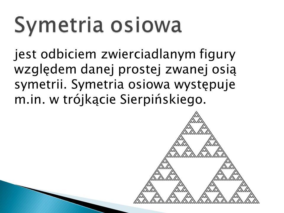jest odbiciem zwierciadlanym figury względem danej prostej zwanej osią symetrii. Symetria osiowa występuje m.in. w trójkącie Sierpińskiego.