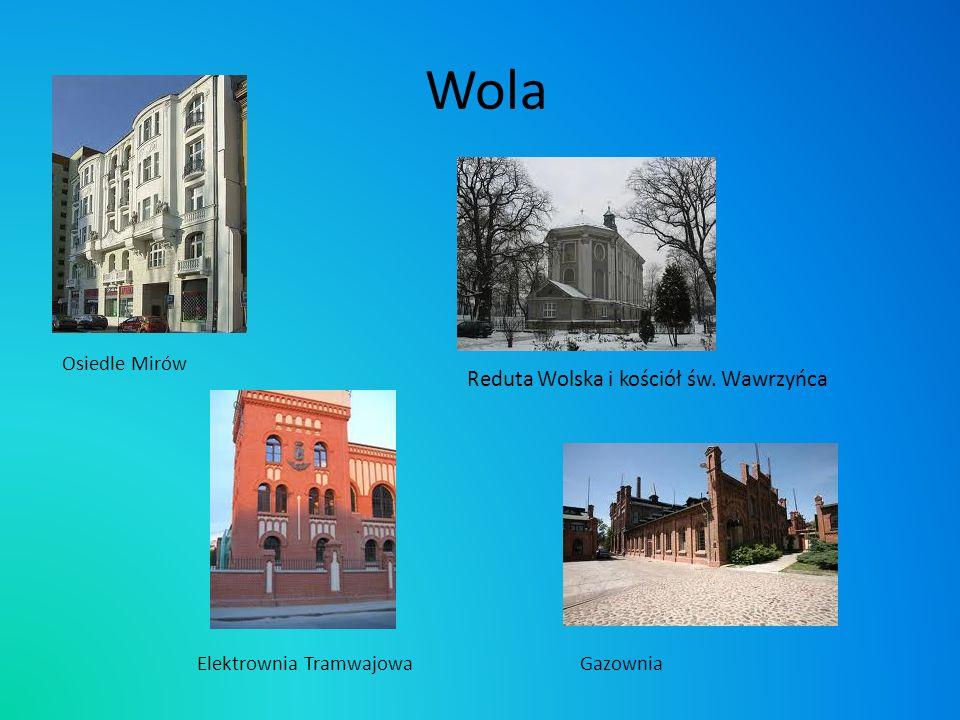 Wola Reduta Wolska i kościół św. Wawrzyńca Osiedle Mirów Elektrownia TramwajowaGazownia