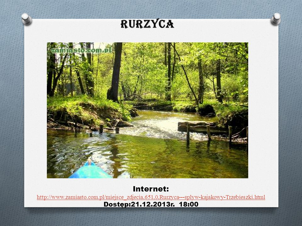Rurzyca Internet: http://www.zamiasto.com.pl/miejsce_zdjecia,651,0,Rurzyca---splyw-kajakowy-Trzebieszki.html http://www.zamiasto.com.pl/miejsce_zdjecia,651,0,Rurzyca---splyw-kajakowy-Trzebieszki.html Dostęp:21.12.2013r.