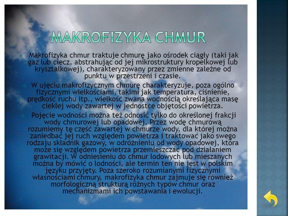 Makrofizyka chmur traktuje chmurę jako ośrodek ciągły (taki jak gaz lub ciecz, abstrahując od jej mikrostruktury kropelkowej lub kryształkowej), chara