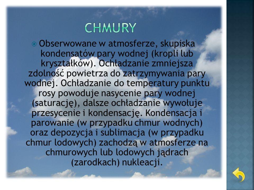 Chmury można podzielić na różne sposoby: ze względu na wysokość występowania na: chmury wysokie, chmury średnie, chmury niskie, ze względu na kształt na: chmury pierzaste, chmury warstwowe, chmury kłębiaste.
