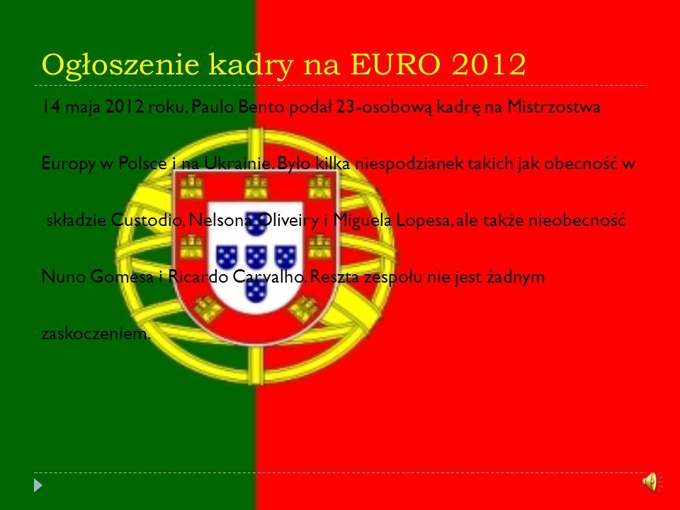 Ogłoszenie kadry na EURO 2012 14 maja 2012 roku, Paulo Bento podał 23-osobową kadrę na Mistrzostwa Europy w Polsce i na Ukrainie.