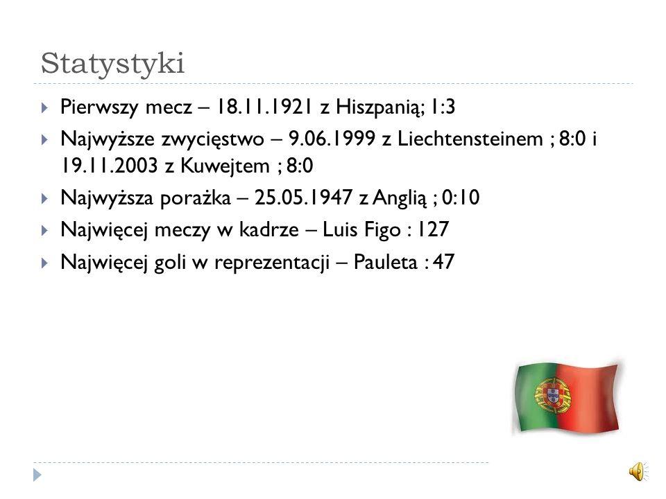 Statystyki Pierwszy mecz – 18.11.1921 z Hiszpanią; 1:3 Najwyższe zwycięstwo – 9.06.1999 z Liechtensteinem ; 8:0 i 19.11.2003 z Kuwejtem ; 8:0 Najwyższa porażka – 25.05.1947 z Anglią ; 0:10 Najwięcej meczy w kadrze – Luis Figo : 127 Najwięcej goli w reprezentacji – Pauleta : 47