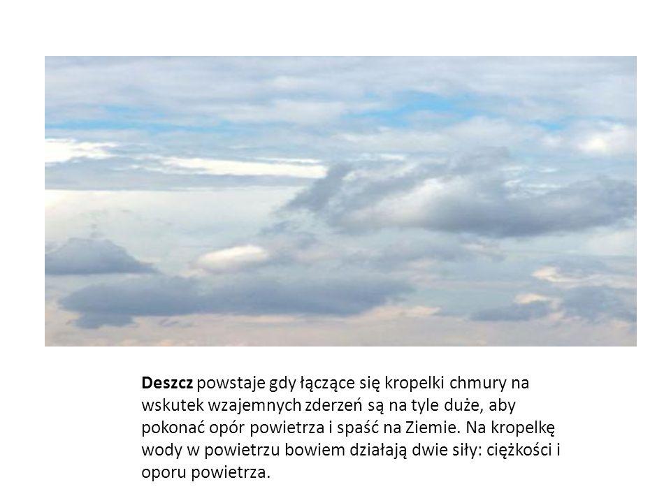 Deszcz powstaje gdy łączące się kropelki chmury na wskutek wzajemnych zderzeń są na tyle duże, aby pokonać opór powietrza i spaść na Ziemie. Na kropel