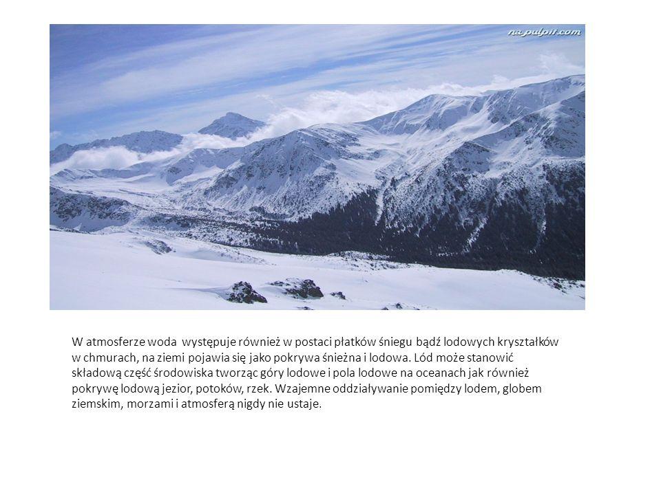 W atmosferze woda występuje również w postaci płatków śniegu bądź lodowych kryształków w chmurach, na ziemi pojawia się jako pokrywa śnieżna i lodowa.