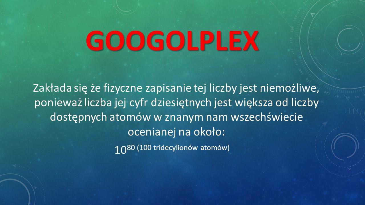 GOOGOL Termin ten wymyślił w 1938 roku dziewięcioletni Milton Sirotta, siostrzeniec amerykańskiego matematyka Edwarda Kasnera, który zapytany przez swego wujka o nazwę dla bardzo dużej liczby, odpowiedział mu googol.