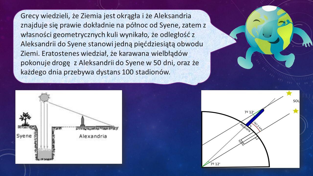 Pomiar długości wbitego pionowo w ziemię kołka (w Aleksandrii) i rzucanego przez niego cienia wykazał kąt padania promieni równy 7 o 12 (czyli 7,2 o ), zatem różnica szerokości geograficznych obu tych miejscowości wynosi również 7 o 12.
