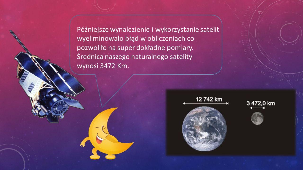 KSIĘŻYC Moją średnicę można było zmierzyć dopiero w momencie pojawienia się teleskopów.
