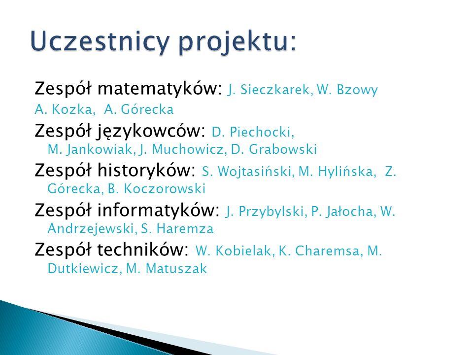 Zespół matematyków: J. Sieczkarek, W. Bzowy A. Kozka, A. Górecka Zespół językowców: D. Piechocki, M. Jankowiak, J. Muchowicz, D. Grabowski Zespół hist