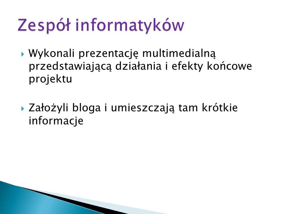 Wykonali prezentację multimedialną przedstawiającą działania i efekty końcowe projektu Założyli bloga i umieszczają tam krótkie informacje