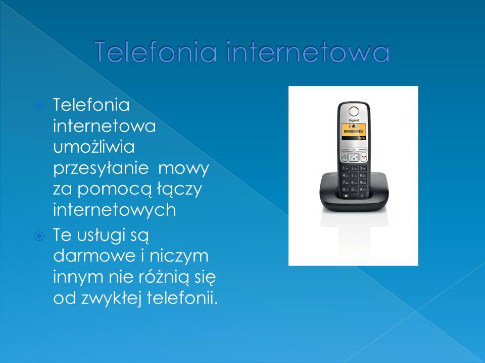 Telefonia internetowa umożliwia przesyłanie mowy za pomocą łączy internetowych Te usługi są darmowe i niczym innym nie różnią się od zwykłej telefonii.
