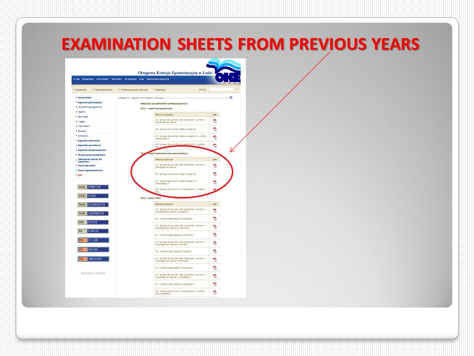 EXAMINATION SHEETS FROM PREVIOUS YEARS