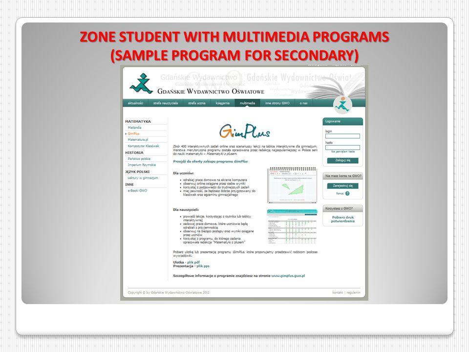ZONE STUDENT WITH MULTIMEDIA PROGRAMS (SAMPLE PROGRAM FOR SECONDARY)