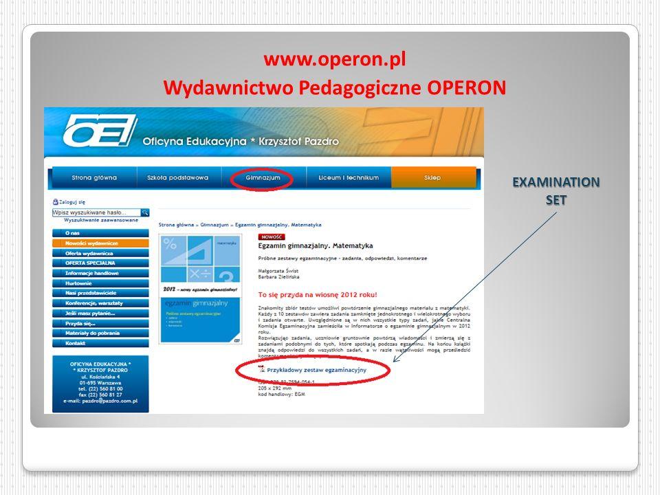 www.operon.pl Wydawnictwo Pedagogiczne OPERON EXAMINATION SET