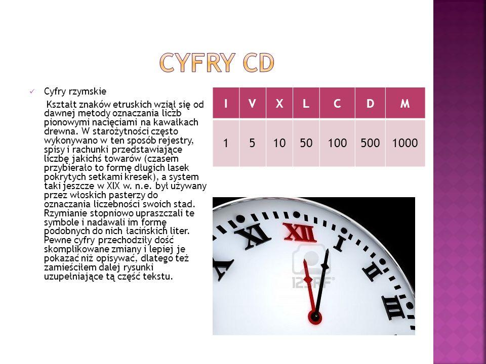 Cyfry rzymskie Kształt znaków etruskich wziął się od dawnej metody oznaczania liczb pionowymi nacięciami na kawałkach drewna. W starożytności często w