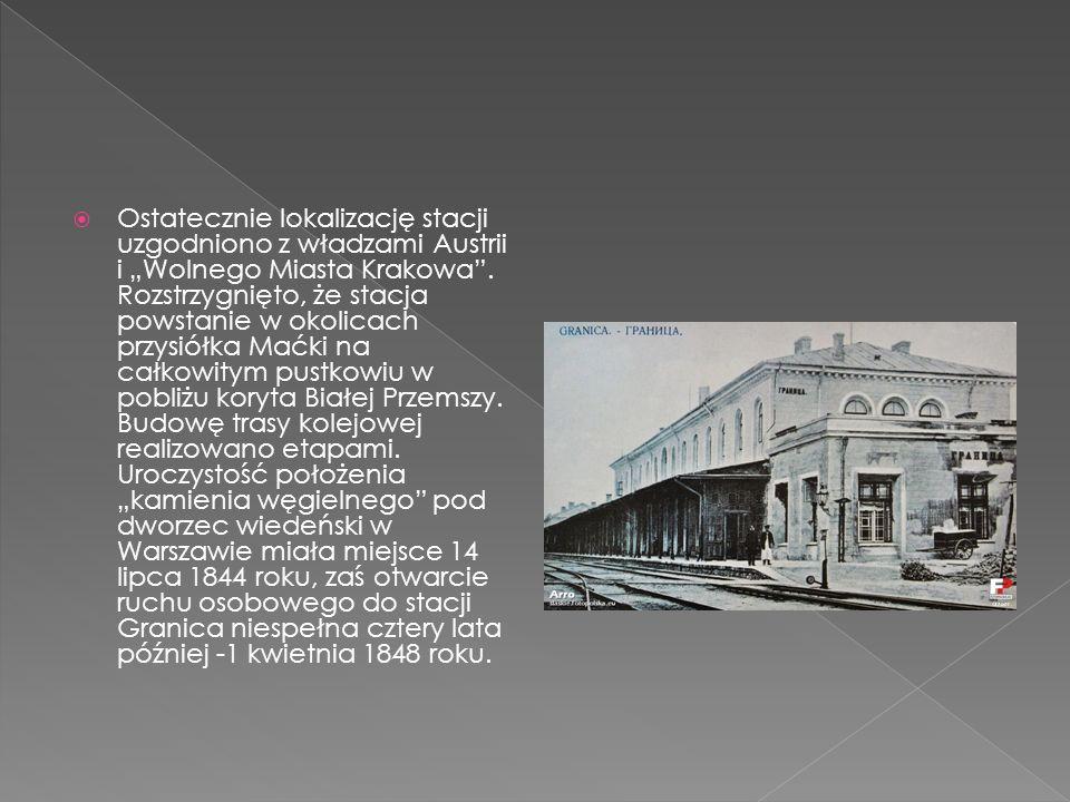 Ostatecznie lokalizację stacji uzgodniono z władzami Austrii i Wolnego Miasta Krakowa. Rozstrzygnięto, że stacja powstanie w okolicach przysiółka Maćk