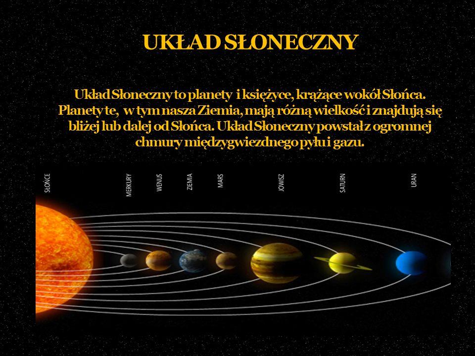 UKŁAD SŁONECZNY Układ Słoneczny to planety i księżyce, krążące wokół Słońca. Planety te, w tym nasza Ziemia, mają różną wielkość i znajdują się bliżej