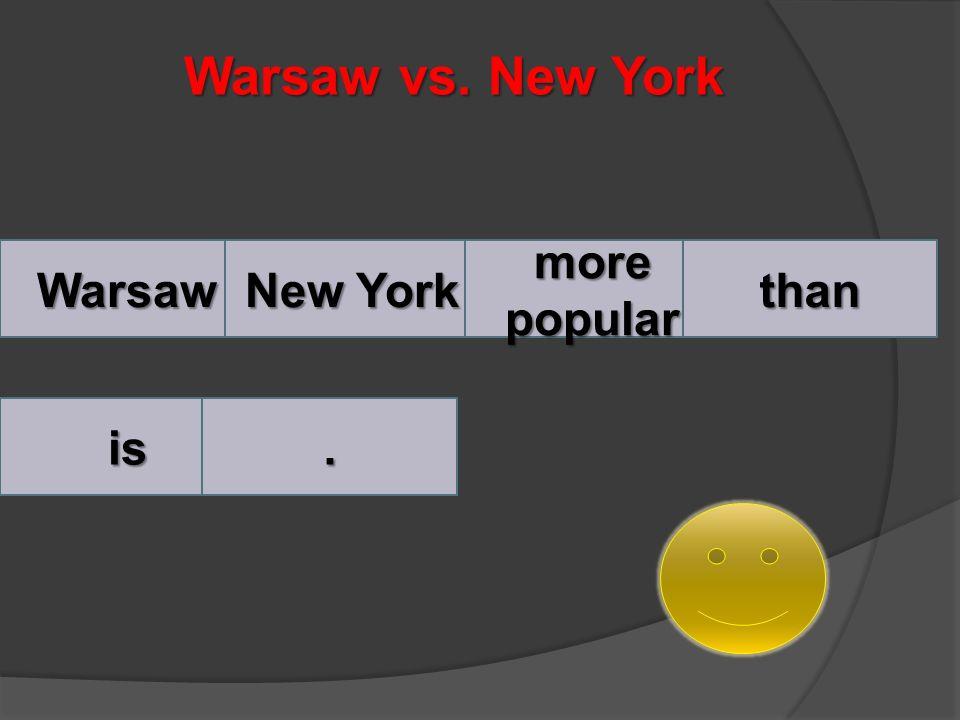 Rozwiązanie New York is more popular than Warsaw.