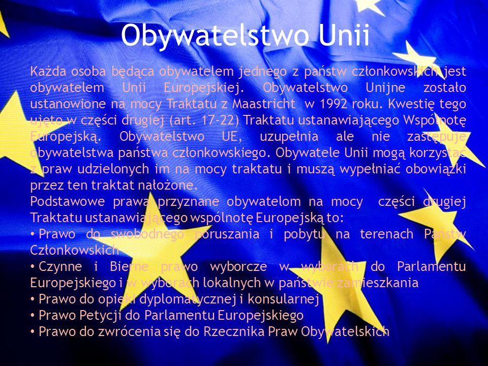 Obywatelstwo Unii Każda osoba będąca obywatelem jednego z państw członkowskich jest obywatelem Unii Europejskiej. Obywatelstwo Unijne zostało ustanowi
