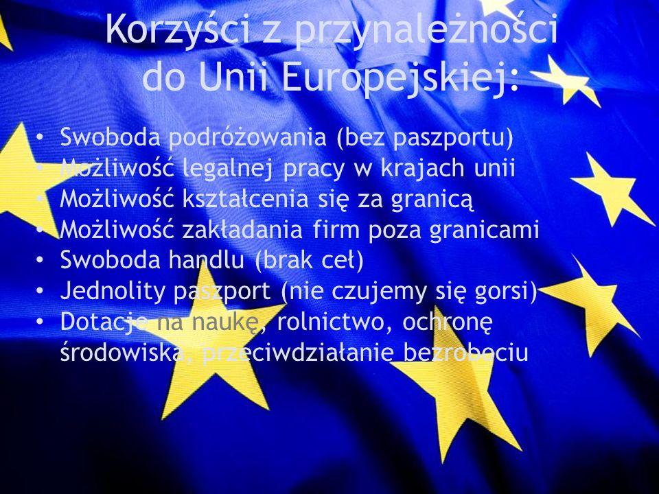 Korzyści z przynależności do Unii Europejskiej: Swoboda podróżowania (bez paszportu) Możliwość legalnej pracy w krajach unii Możliwość kształcenia się