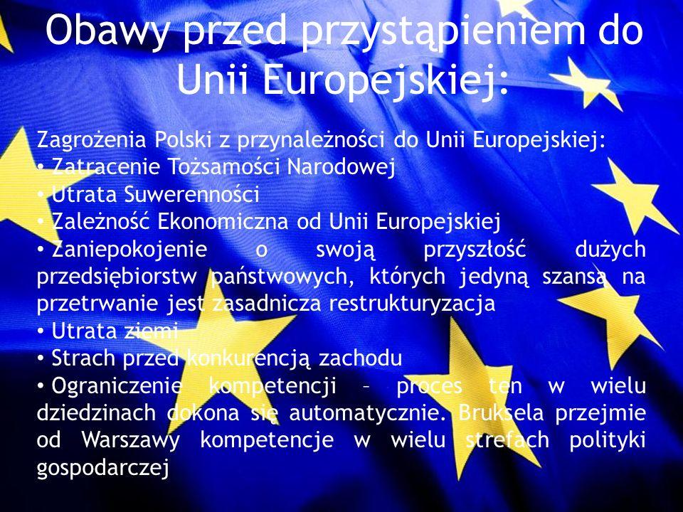 Obawy przed przystąpieniem do Unii Europejskiej: Zagrożenia Polski z przynależności do Unii Europejskiej: Zatracenie Tożsamości Narodowej Utrata Suwer