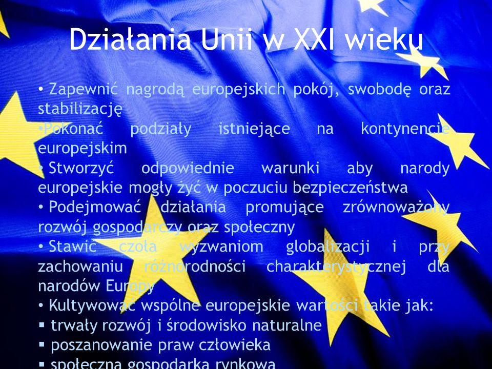 Działania Unii w XXI wieku Zapewnić nagrodą europejskich pokój, swobodę oraz stabilizację Pokonać podziały istniejące na kontynencie europejskim Stwor