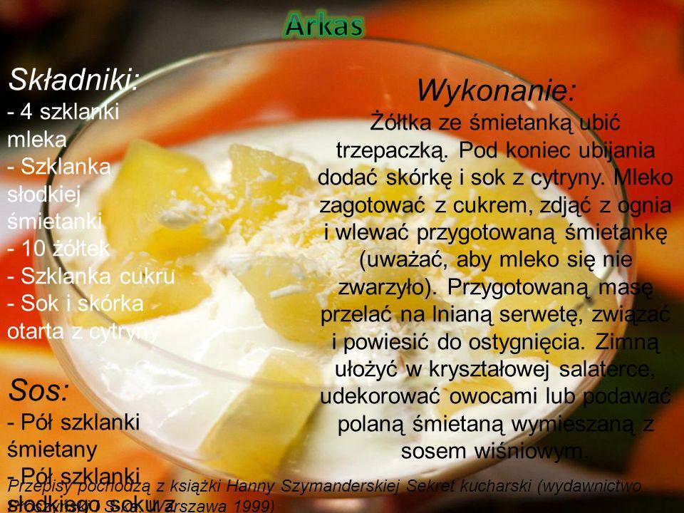 Składniki: - 4 szklanki mleka - Szklanka słodkiej śmietanki - 10 żółtek - Szklanka cukru - Sok i skórka otarta z cytryny Sos: - Pół szklanki śmietany - Pół szklanki słodkiego soku z wiśni Wykonanie: Żółtka ze śmietanką ubić trzepaczką.