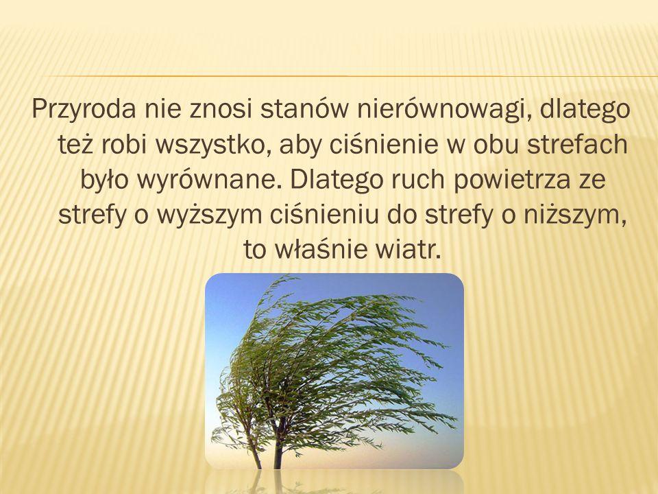 Przyroda nie znosi stanów nierównowagi, dlatego też robi wszystko, aby ciśnienie w obu strefach było wyrównane. Dlatego ruch powietrza ze strefy o wyż