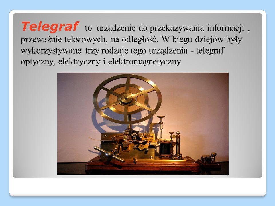 Telegraf to urządzenie do przekazywania informacji, przeważnie tekstowych, na odległość. W biegu dziejów były wykorzystywane trzy rodzaje tego urządze