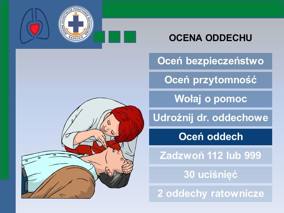Oceń bezpieczeństwo Oceń przytomność Wołaj o pomoc Udrożnij dr. oddechowe Oceń oddech Zadzwoń 112 lub 999 30 uciśnięć 2 oddechy ratownicze OCENA ODDEC