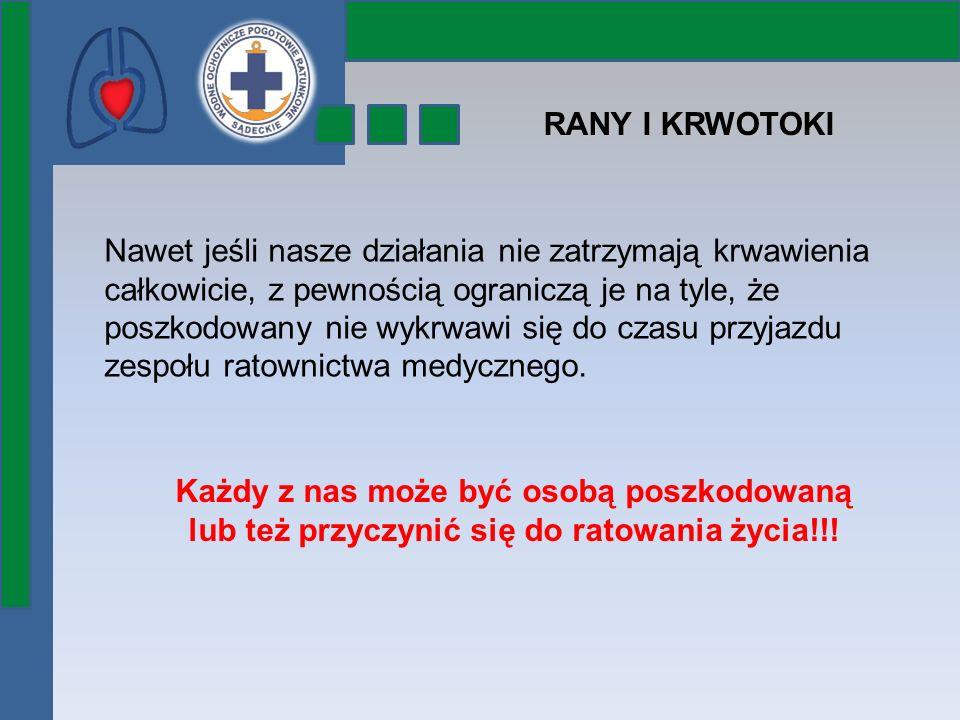 RANY I KRWOTOKI Każdy z nas może być osobą poszkodowaną lub też przyczynić się do ratowania życia!!! Nawet jeśli nasze działania nie zatrzymają krwawi