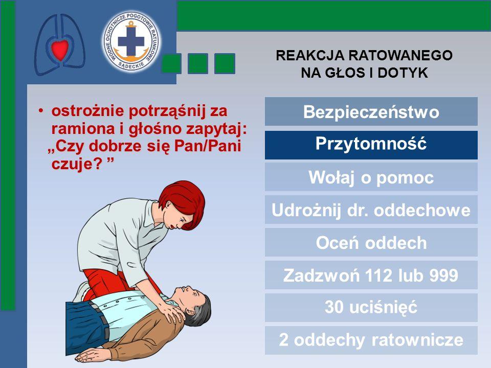 Bezpieczeństwo Przytomność Wołaj o pomoc Udrożnij dr. oddechowe Oceń oddech Zadzwoń 112 lub 999 30 uciśnięć 2 oddechy ratownicze ostrożnie potrząśnij