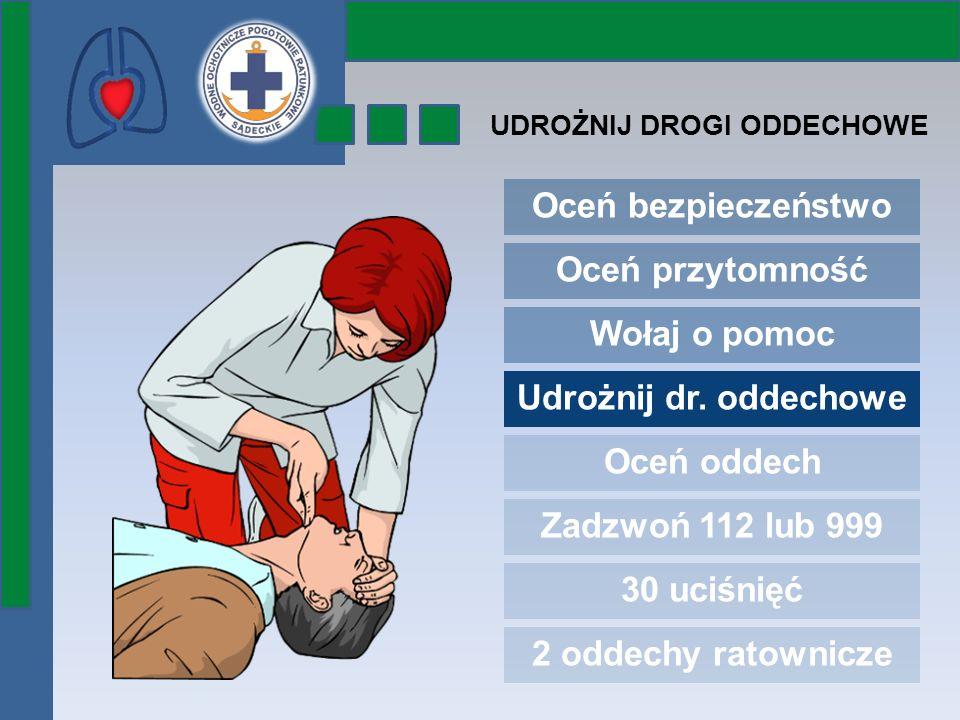 Oceń bezpieczeństwo Oceń przytomność Wołaj o pomoc Udrożnij dr. oddechowe Oceń oddech Zadzwoń 112 lub 999 30 uciśnięć 2 oddechy ratownicze UDROŻNIJ DR