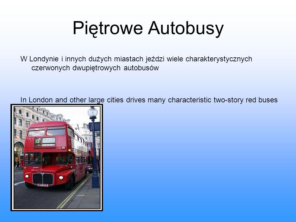 Piętrowe Autobusy W Londynie i innych dużych miastach jeździ wiele charakterystycznych czerwonych dwupiętrowych autobusów In London and other large ci